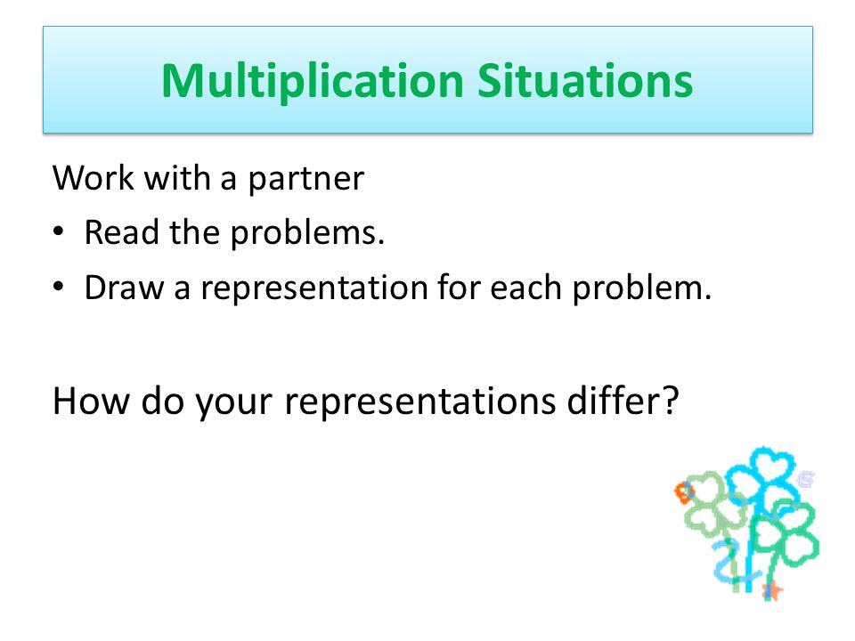 Multiplication Situations Work with a partner Read the problems. Draw a representation for each problem. How do your representations differ?