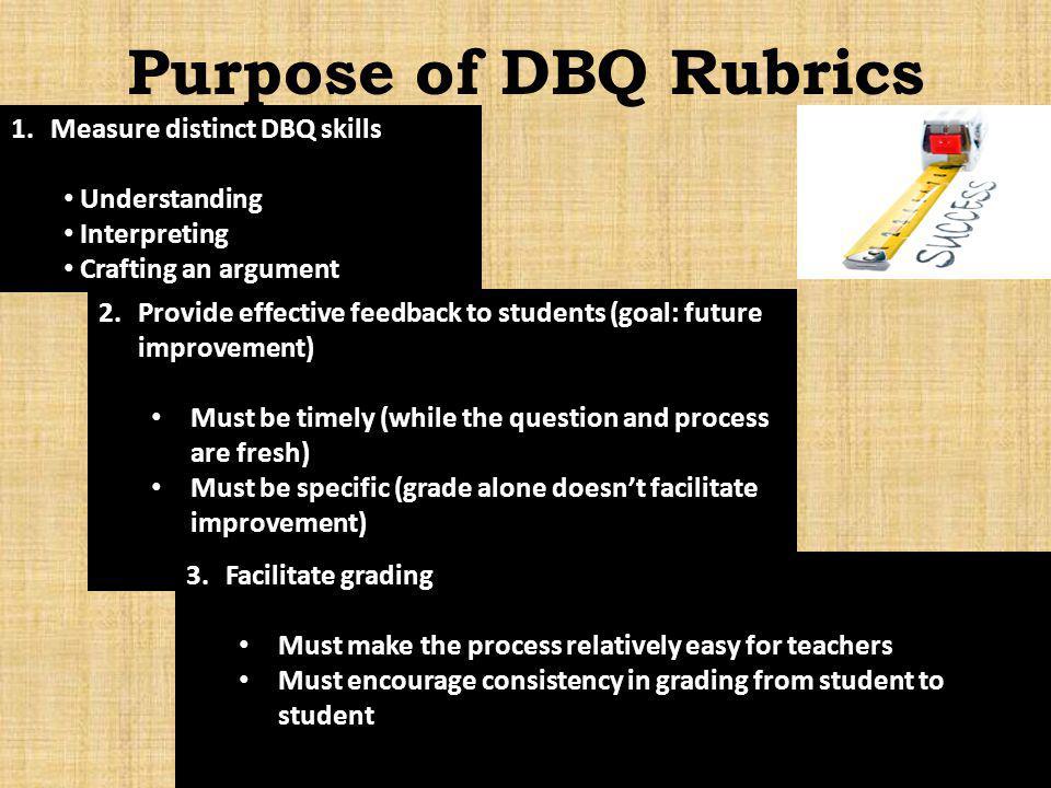 Purpose of DBQ Rubrics 1.Measure distinct DBQ skills Understanding Interpreting Crafting an argument 2.Provide effective feedback to students (goal: f