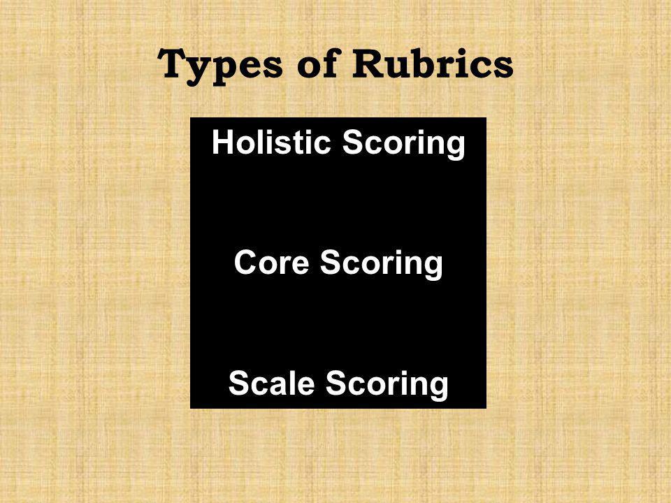 Holistic Scoring Core Scoring Scale Scoring Types of Rubrics
