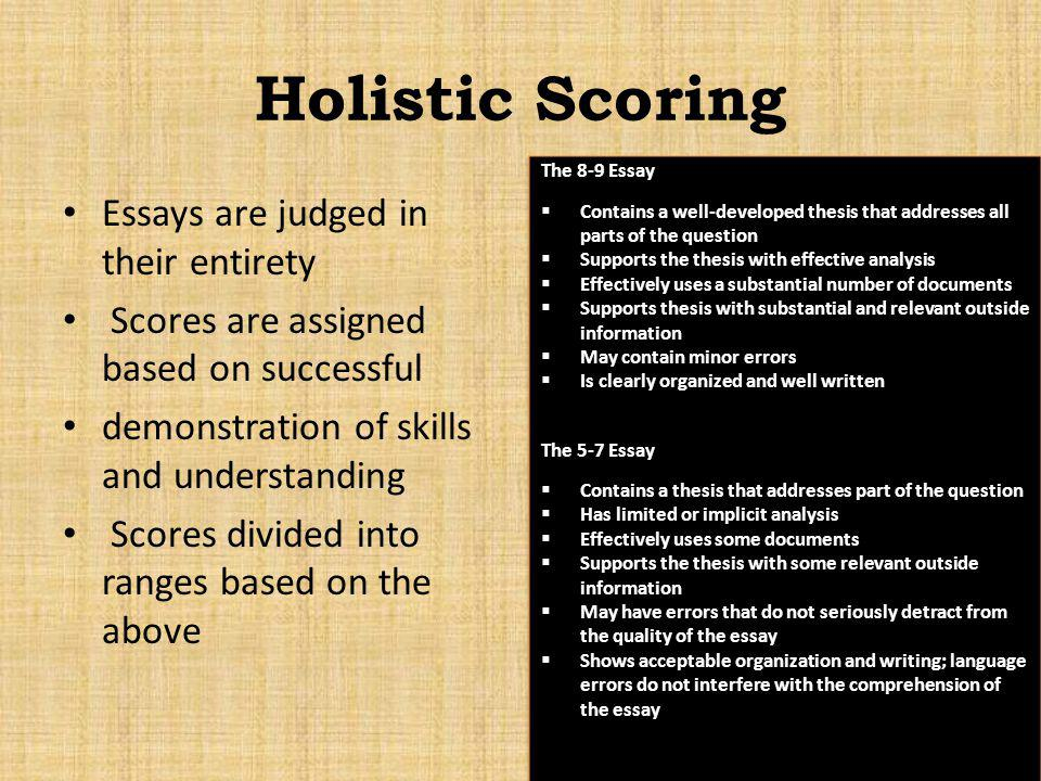 Holistic Scoring Essays are judged in their entirety Scores are assigned based on successful demonstration of skills and understanding Scores divided