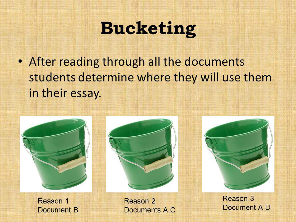 Bucketing After reading through all the documents students determine where they will use them in their essay. Reason 1 Document B Reason 2 Documents A