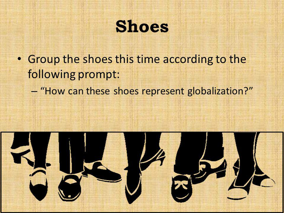 Shoes Group the shoes this time according to the following prompt: – How can these shoes represent globalization?