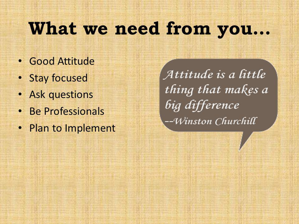 What we need from you… Good Attitude Stay focused Ask questions Be Professionals Plan to Implement