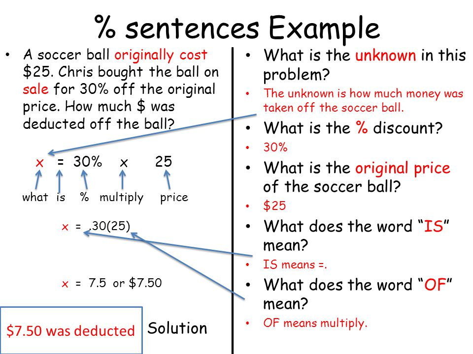% sentences Example A soccer ball originally cost $25. Chris bought the ball on sale for 30% off the original price. How much $ was deducted off the b