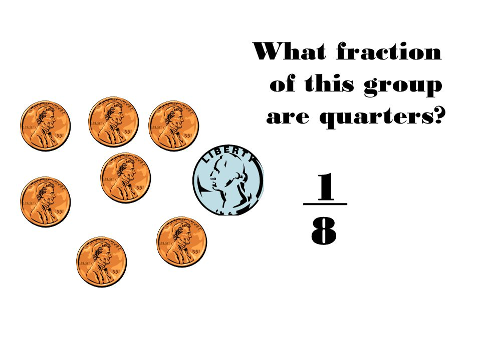 What fraction of this group are quarters?