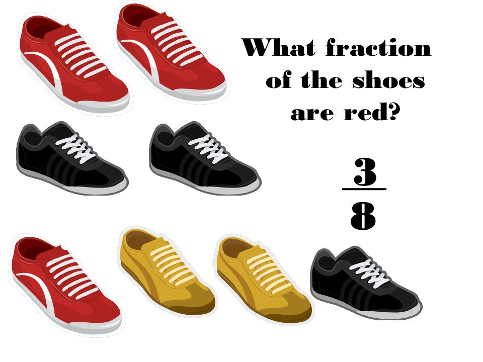What fraction of the shoes are red?