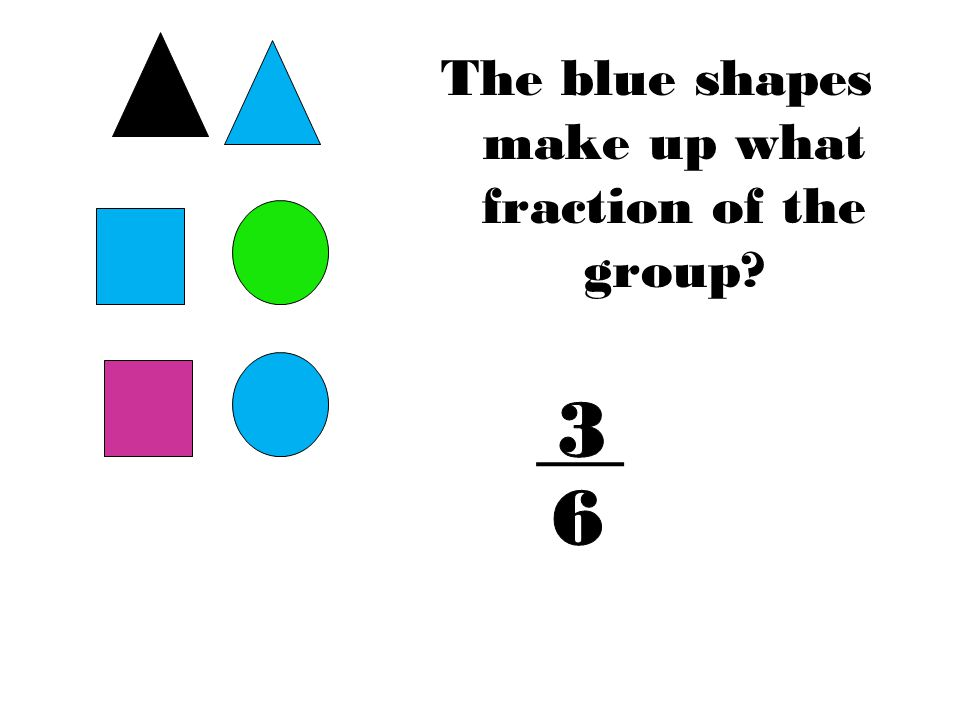 The blue shapes make up what fraction of the group?