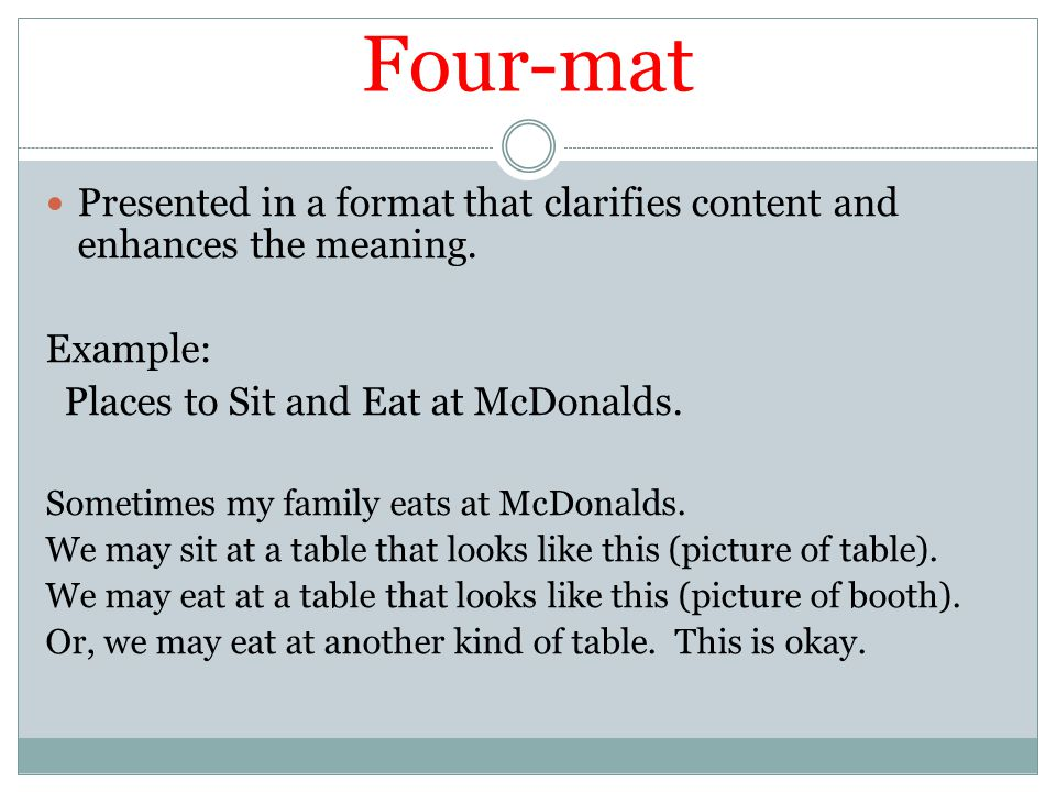 Four-mat Presented in a format that clarifies content and enhances the meaning. Example: Places to Sit and Eat at McDonalds. Sometimes my family eats