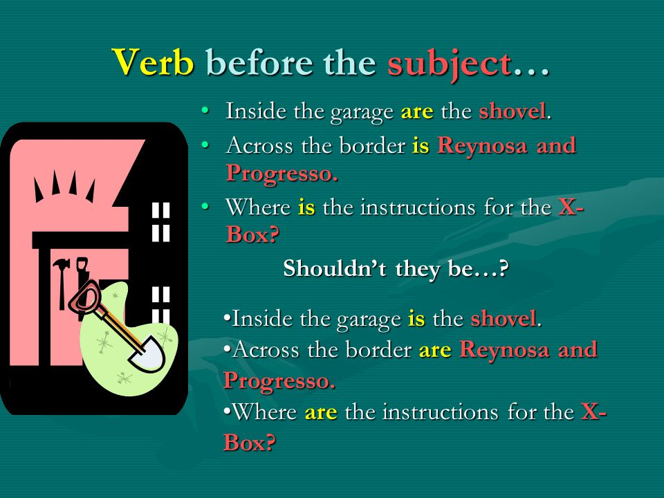 Verb before the subject… Inside the garage are the shovel.