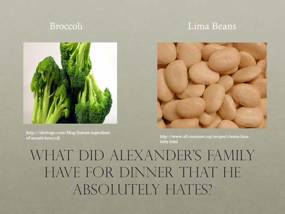 What Did Alexanders Family Have For dinner that HE Absolutely Hates.