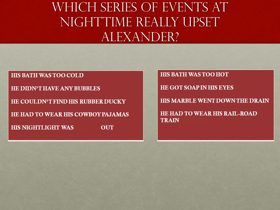 Which SERIES OF EVENTS AT NIGHTTIME REALLY UPSET ALEXANDER.