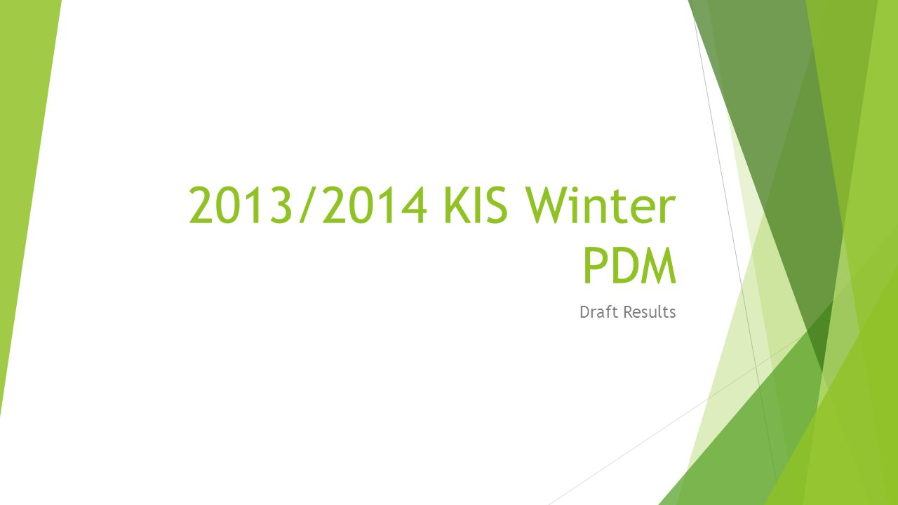 2013/2014 KIS winter PDM Introduction: Survey covers - heating fuel + NFIs Methodology – tracking Limitations (beneficiary driven survey + human error) Draft PDM report available Presentation – covers: Summary of Results Recommendations