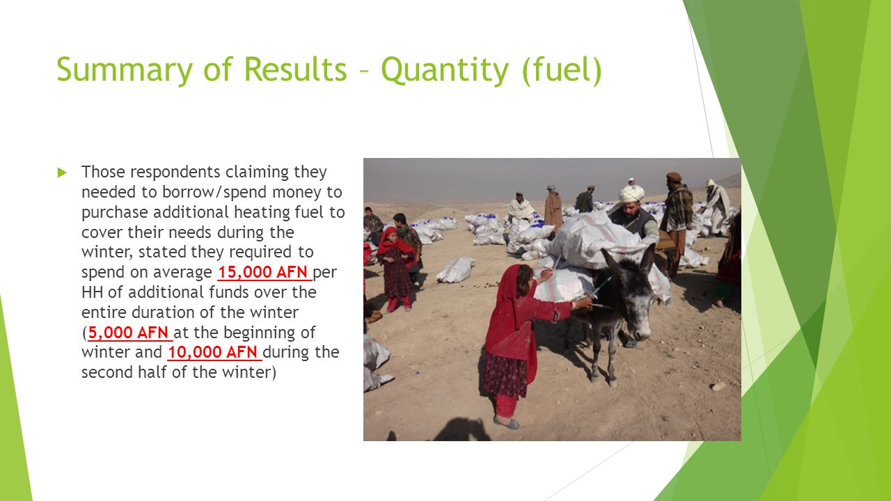 Summary of Results – Quantity (NFIs) When asked whether or not the recipients perceived having received sufficient quantity of NFIs from the service providers to cope with their winter needs, 51% of the respondents answered YES and an alarming 49% of the respondents answered NO.