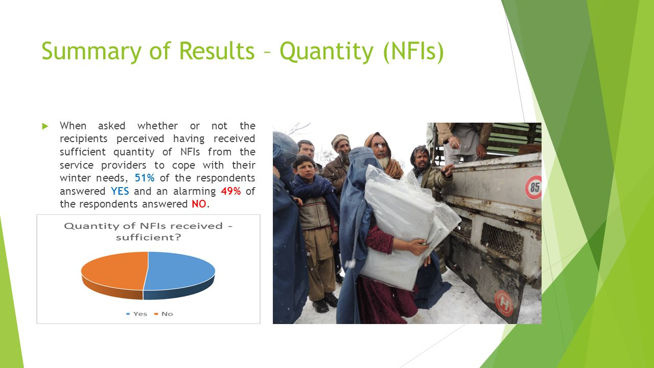 Summary of Results – Quantity (NFIs) why this was still perceived as not sufficient.