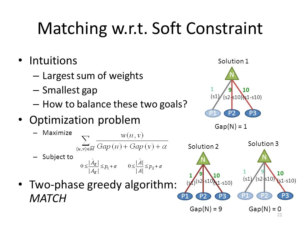 Matching w.r.t. Soft Constraint Intuitions – Largest sum of weights – Smallest gap – How to balance these two goals? Optimization problem – Maximize –