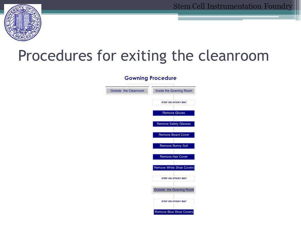 Stem Cell Instrumentation Foundry Procedures for exiting the cleanroom