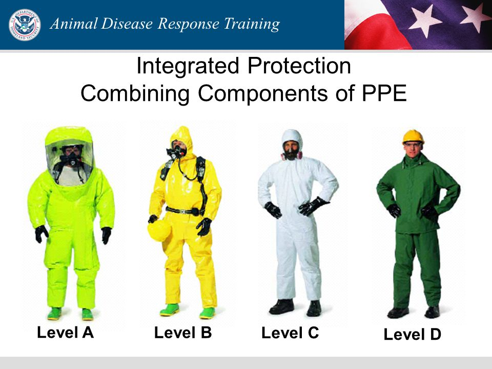 Animal Disease Response Training Integrated Protection Combining Components of PPE Level A Level B Level C Level D