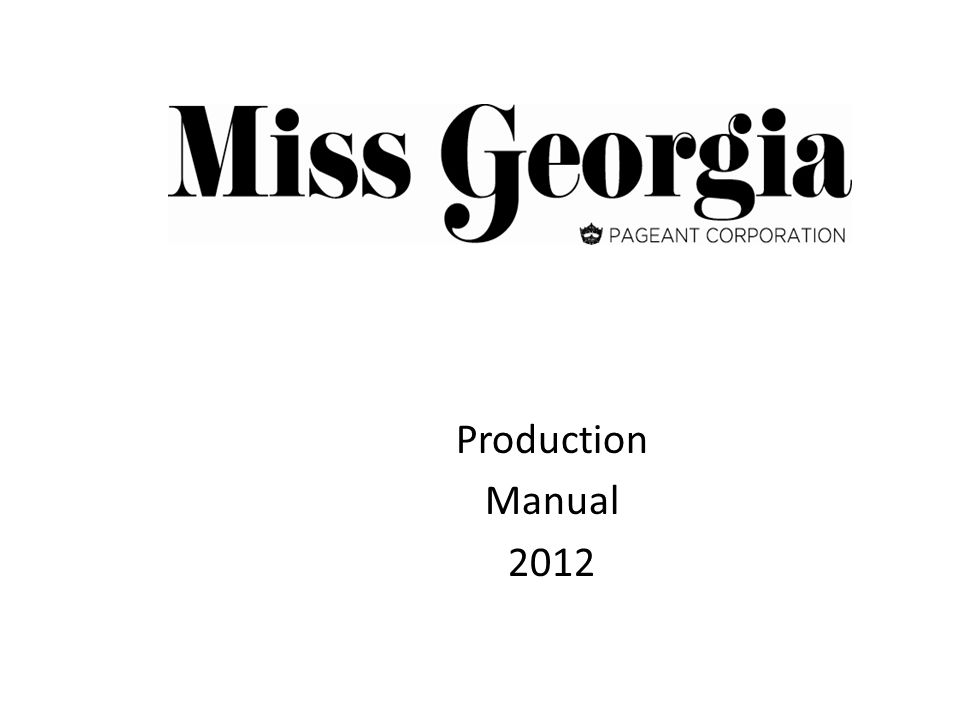 Production Manual 2012