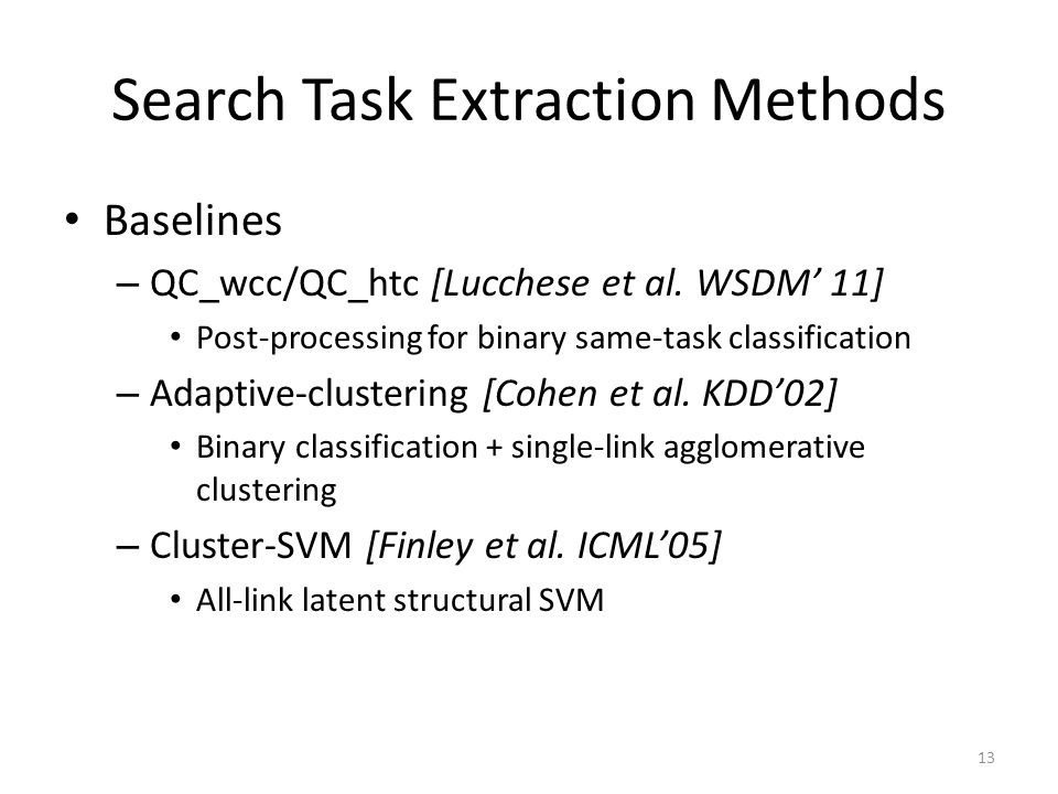 Search Task Extraction Methods Baselines – QC_wcc/QC_htc [Lucchese et al. WSDM 11] Post-processing for binary same-task classification – Adaptive-clus