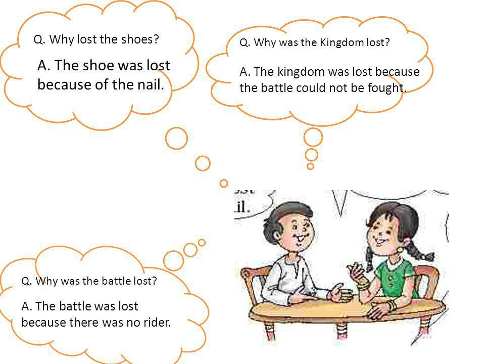 Q. Why lost the shoes? A. The shoe was lost because of the nail. Q. Why was the Kingdom lost? A. The kingdom was lost because the battle could not be