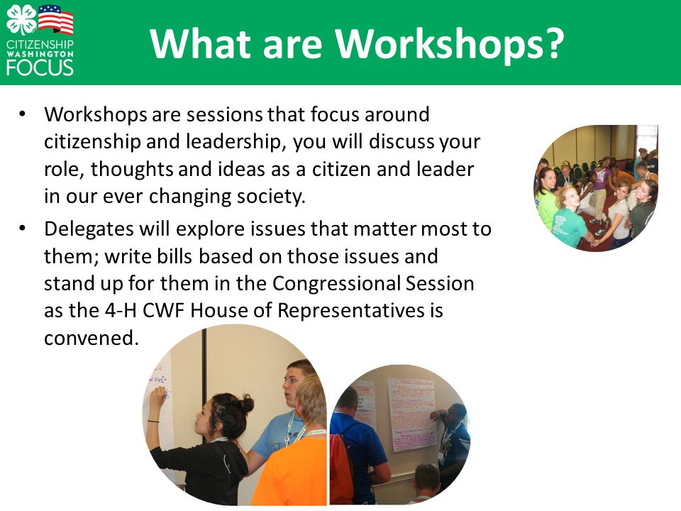 What are Workshops.
