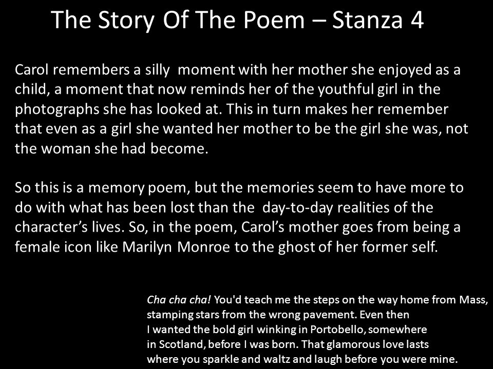 The Story Of The Poem – Stanza 4 Cha cha cha.
