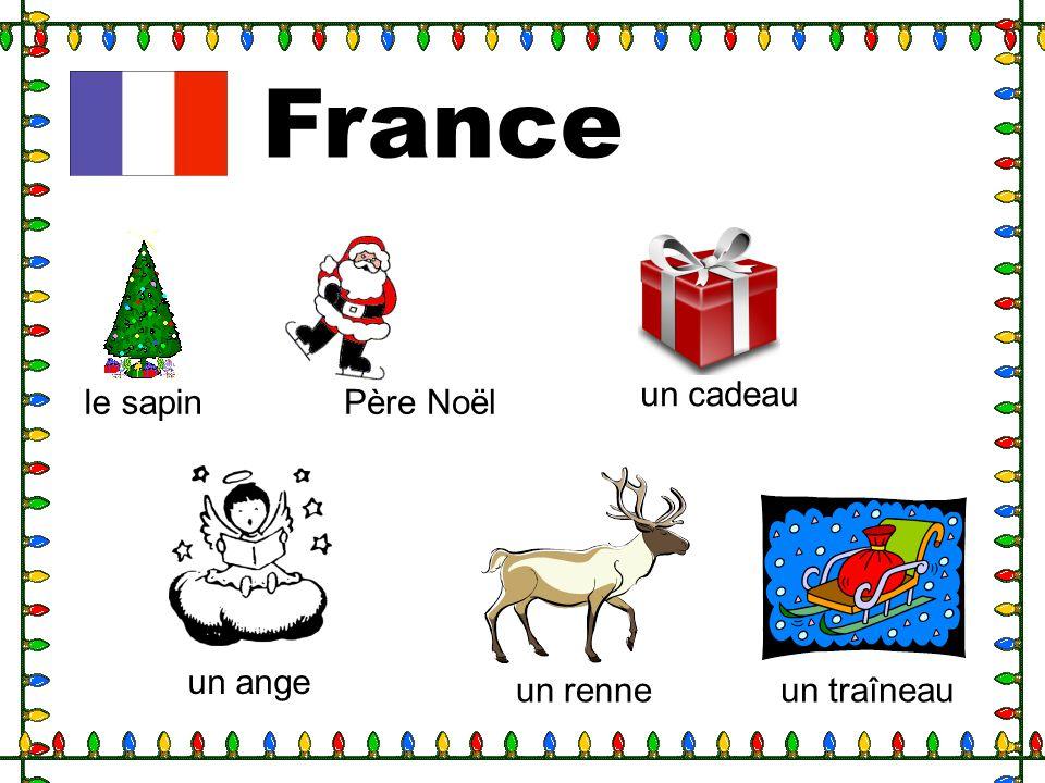 France le sapinPère Noël un cadeau un ange un renneun traîneau