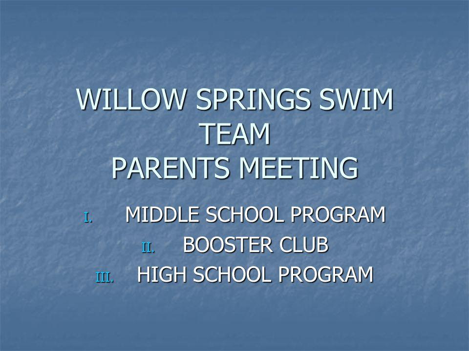 WILLOW SPRINGS SWIM TEAM PARENTS MEETING I.MIDDLE SCHOOL PROGRAM II.