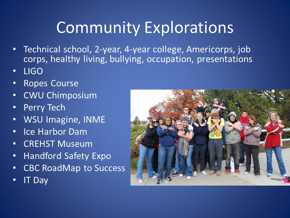 Community Explorations Technical school, 2-year, 4-year college, Americorps, job corps, healthy living, bullying, occupation, presentations LIGO Ropes Course CWU Chimposium Perry Tech WSU Imagine, INME Ice Harbor Dam CREHST Museum Handford Safety Expo CBC RoadMap to Success IT Day