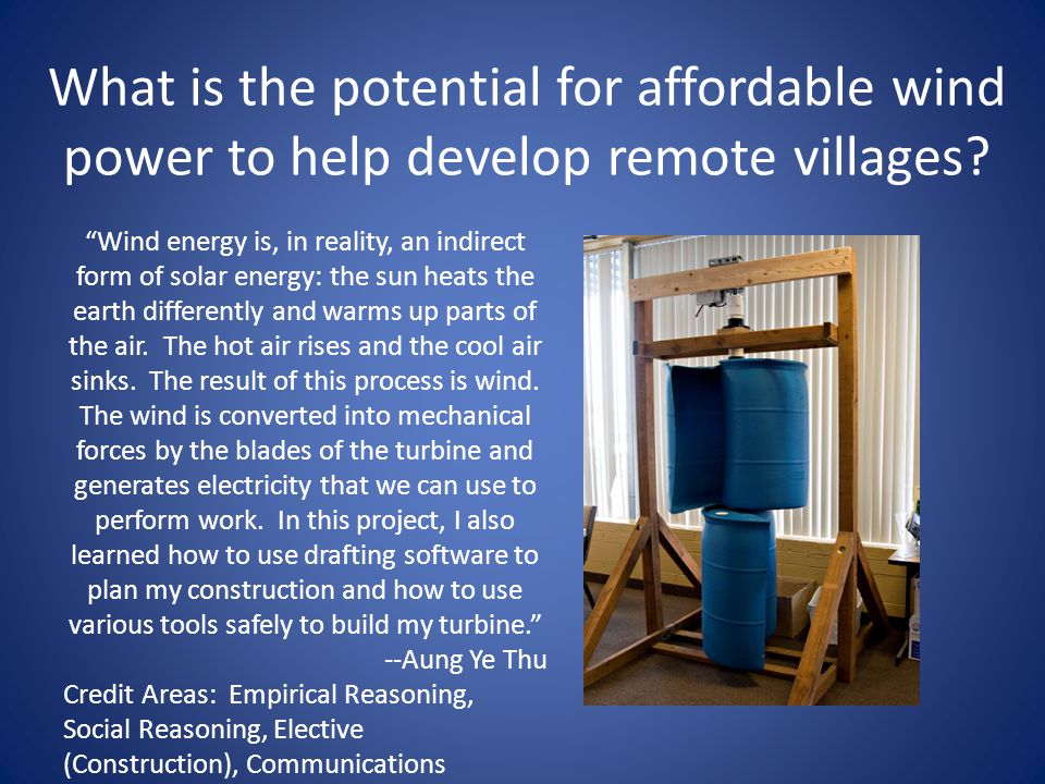 What is the potential for affordable wind power to help develop remote villages.