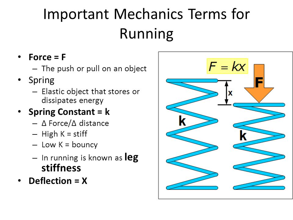 Important Mechanics Terms for Running Force = F – The push or pull on an object Spring – Elastic object that stores or dissipates energy Spring Constant = k – Force/ distance – High K = stiff – Low K = bouncy – In running is known as leg stiffness Deflection = X