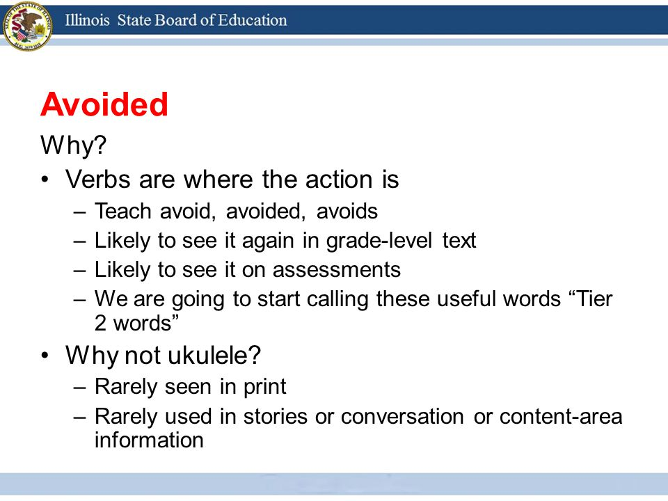 Avoided Why? Verbs are where the action is –Teach avoid, avoided, avoids –Likely to see it again in grade-level text –Likely to see it on assessments