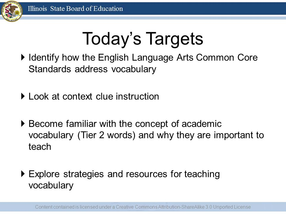 Todays Targets Identify how the English Language Arts Common Core Standards address vocabulary Look at context clue instruction Become familiar with t