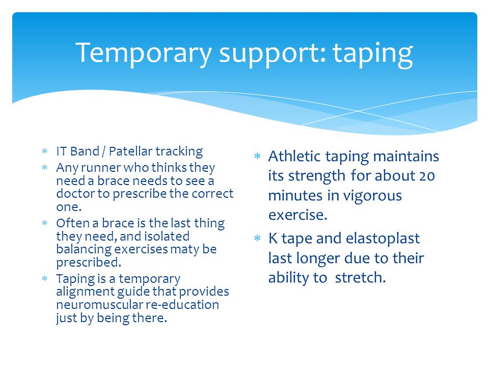 Temporary support: taping IT Band / Patellar tracking Any runner who thinks they need a brace needs to see a doctor to prescribe the correct one.