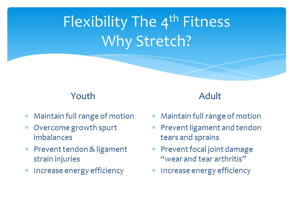 Flexibility The 4 th Fitness Why Stretch.
