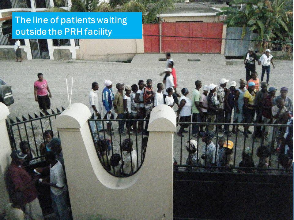The line of patients waiting outside the PRH facility