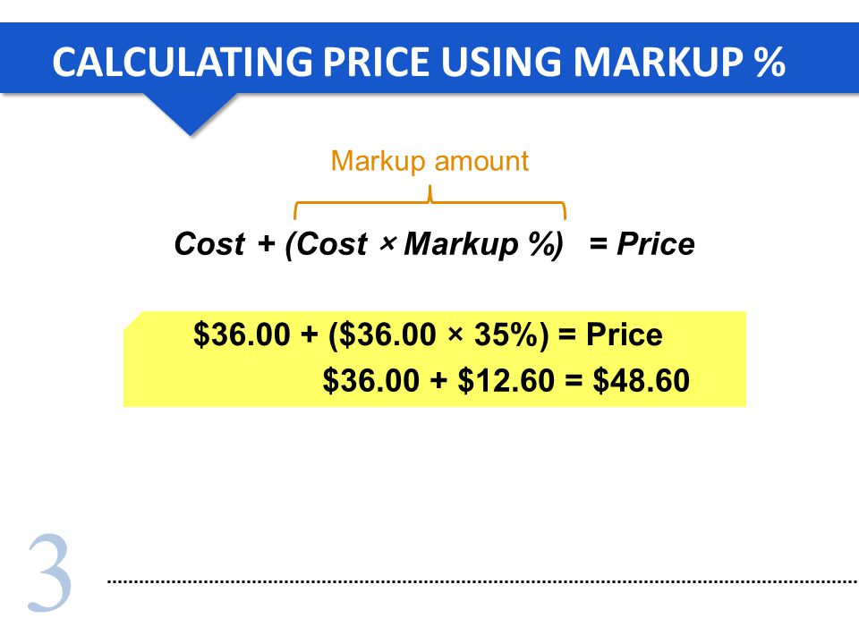 3 $36.00 + $12.60 = $48.60 CALCULATING PRICE USING MARKUP % Cost $36.00 + ($36.00 × 35%) = Price Markup amount + (Cost × Markup %)= Price