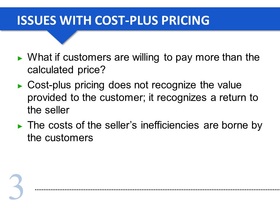 3 ISSUES WITH COST-PLUS PRICING What if customers are willing to pay more than the calculated price.
