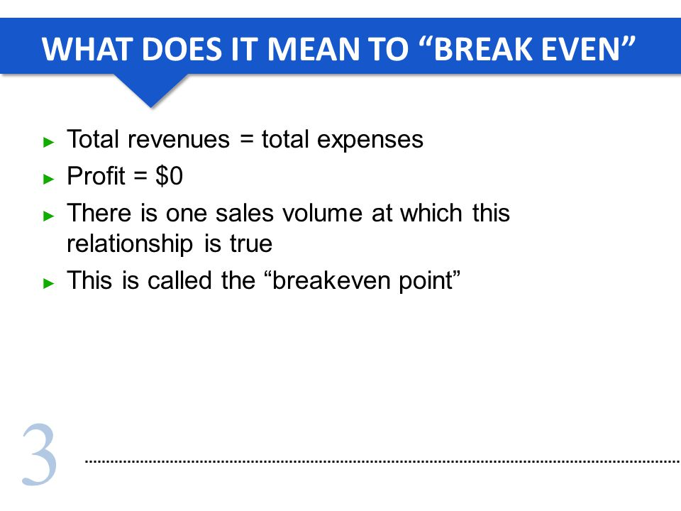 3 WHAT DOES IT MEAN TO BREAK EVEN Total revenues = total expenses Profit = $0 There is one sales volume at which this relationship is true This is called the breakeven point
