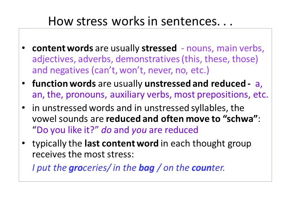 content words are usually stressed - nouns, main verbs, adjectives, adverbs, demonstratives (this, these, those) and negatives (cant, wont, never, no,