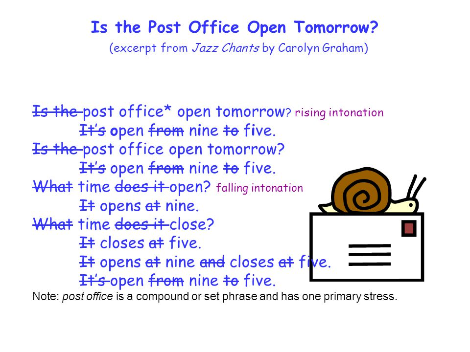 Is the post office* open tomorrow ? rising intonation Its open from nine to five. Is the post office open tomorrow? Its open from nine to five. What t