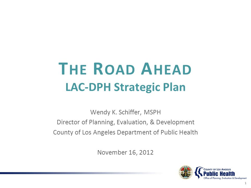 T HE R OAD A HEAD LAC-DPH Strategic Plan Wendy K.