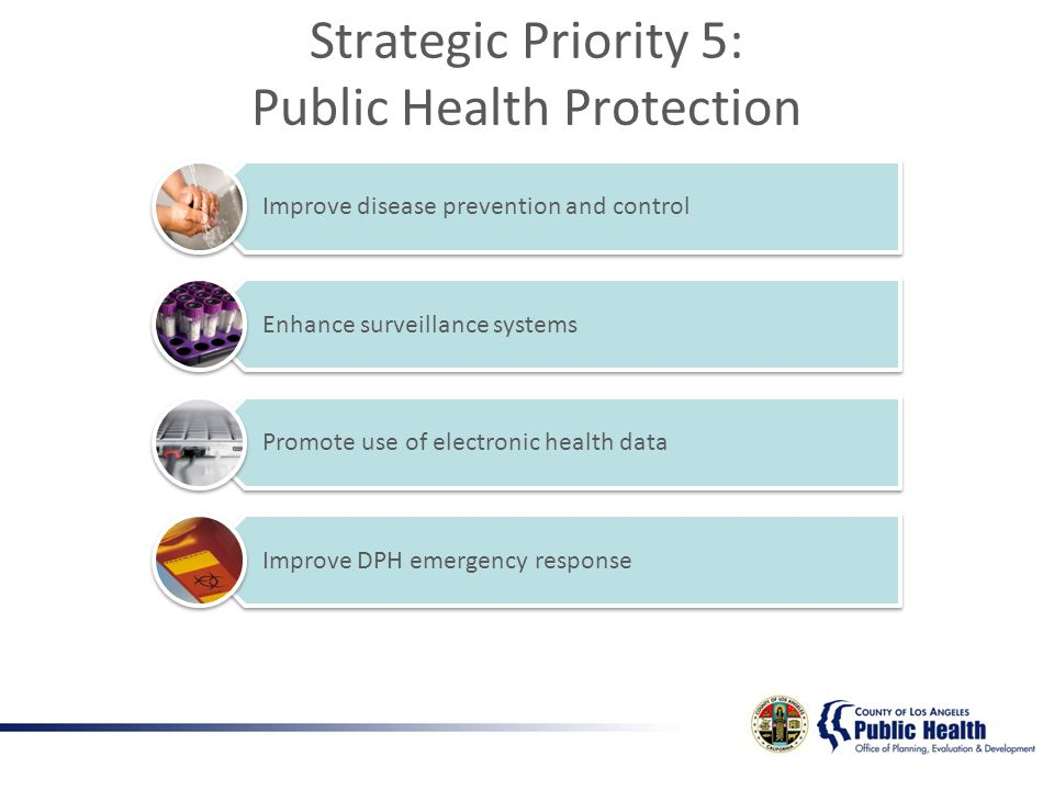 Improve disease prevention and control Enhance surveillance systems Promote use of electronic health data Improve DPH emergency response Strategic Priority 5: Public Health Protection