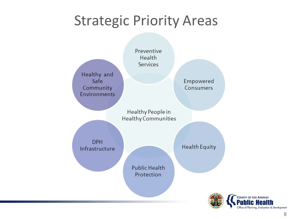 Strategic Priority Areas 8 Healthy People in Healthy Communities Preventive Health Services Empowered Consumers Health Equity Public Health Protection DPH Infrastructure Healthy and Safe Community Environments