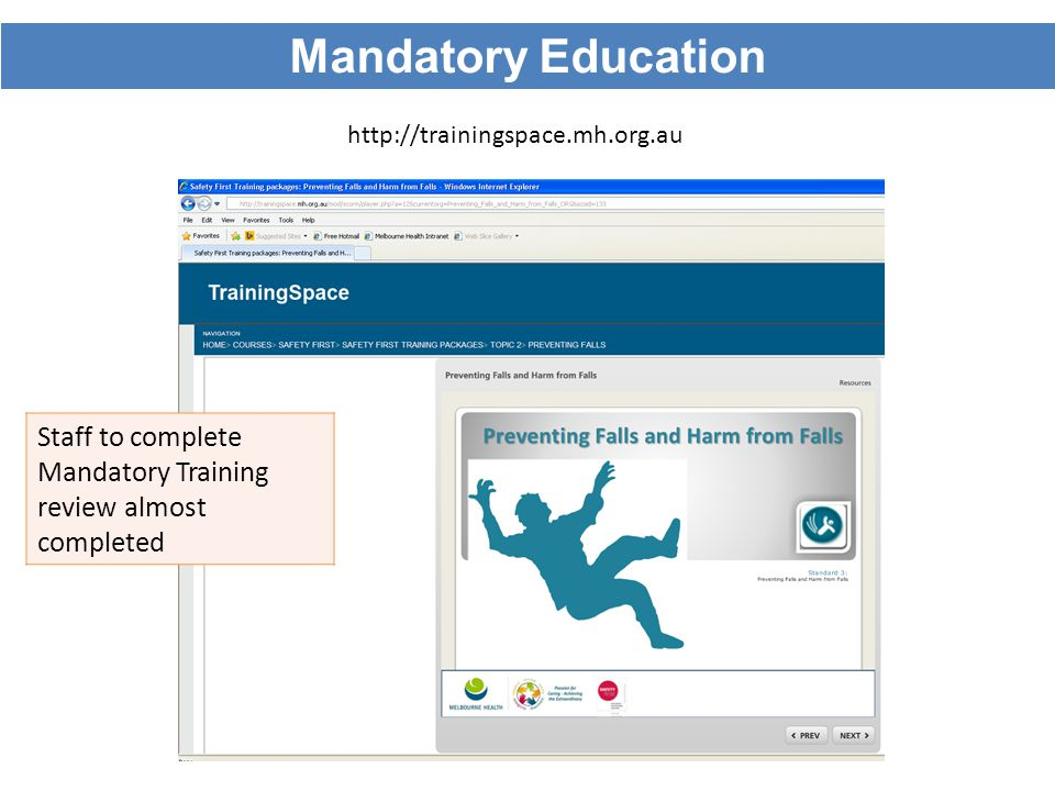 http://trainingspace.mh.org.au Staff to complete Mandatory Training review almost completed Mandatory Education