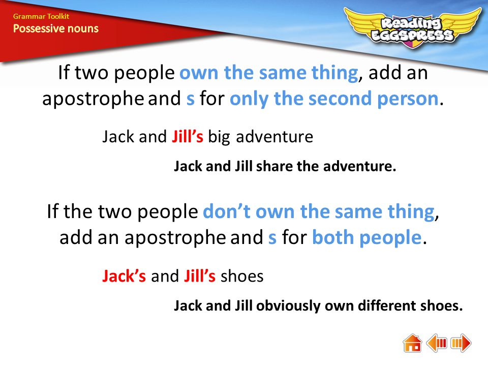 Grammar Toolkit A noun is a naming word.A possessive noun names the owner of something.