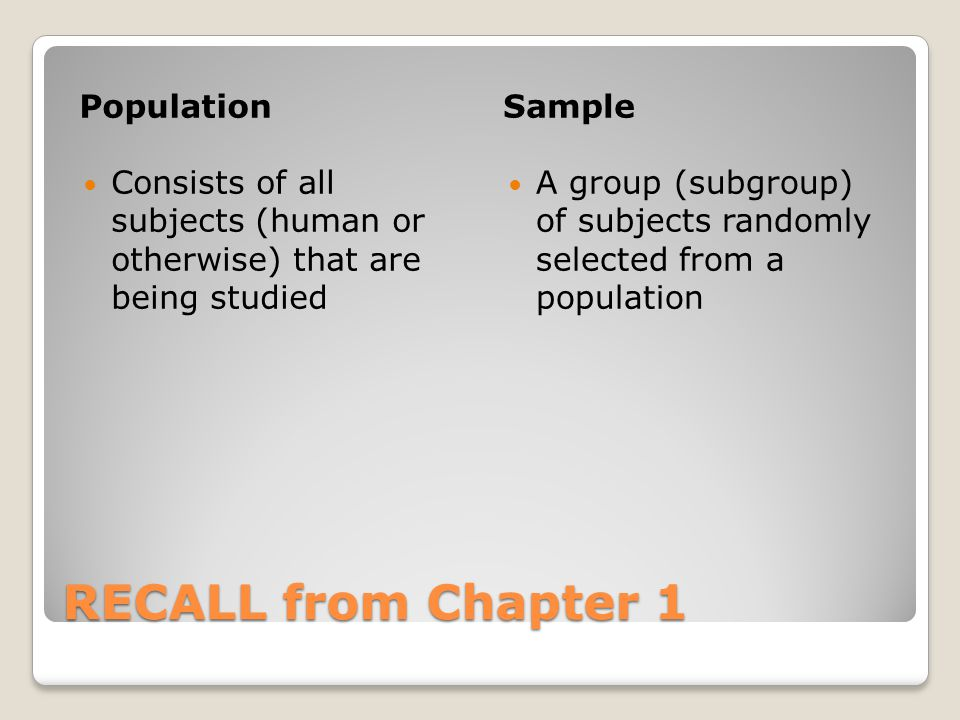 RECALL from Chapter 1 PopulationSample Consists of all subjects (human or otherwise) that are being studied A group (subgroup) of subjects randomly se