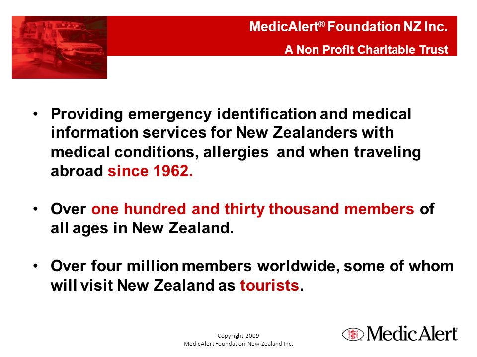 Providing emergency identification and medical information services for New Zealanders with medical conditions, allergies and when traveling abroad since 1962.