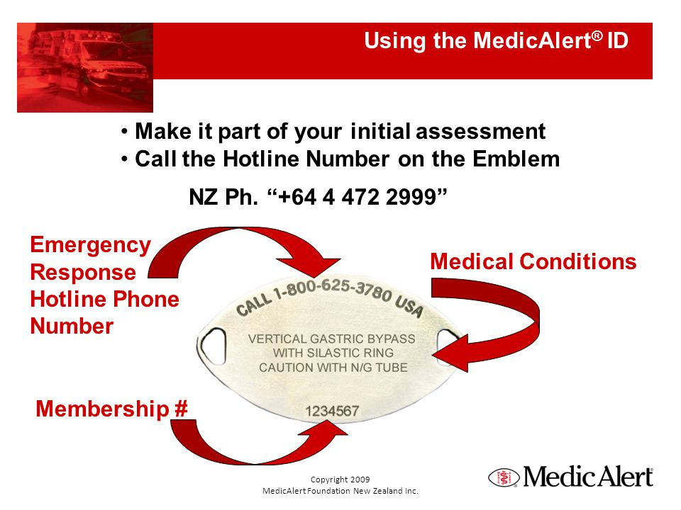 Using the MedicAlert ® ID Membership # Emergency Response Hotline Phone Number Medical Conditions Make it part of your initial assessment Call the Hotline Number on the Emblem NZ Ph.