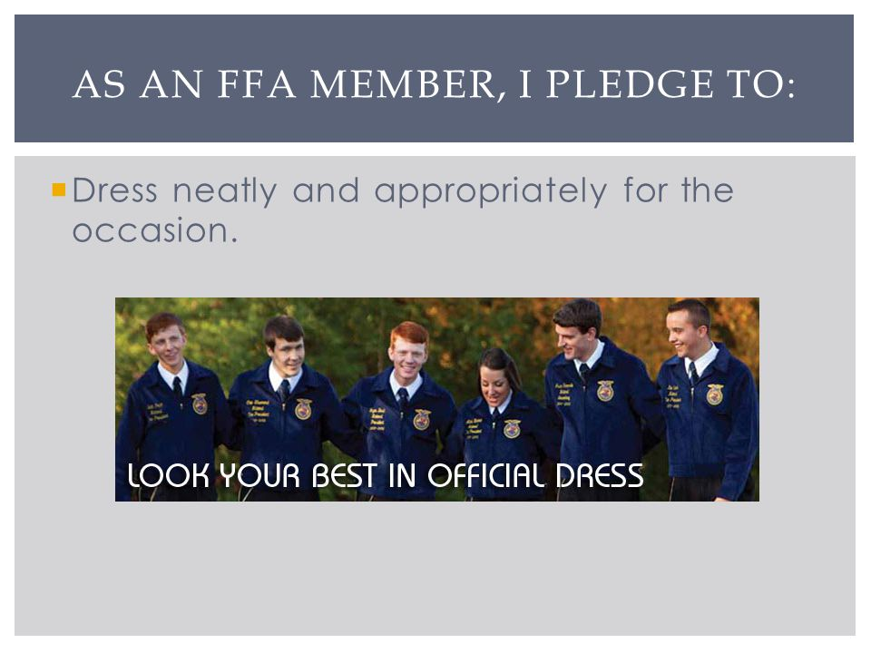 Dress neatly and appropriately for the occasion. AS AN FFA MEMBER, I PLEDGE TO: